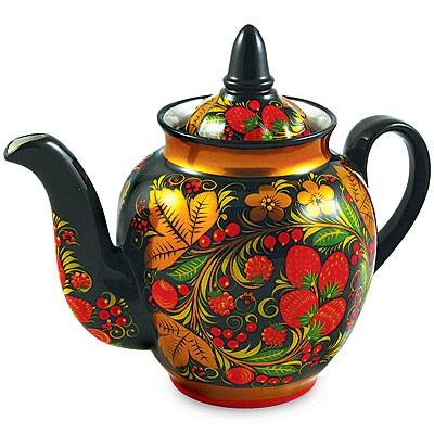 Роспись чайника хохломой