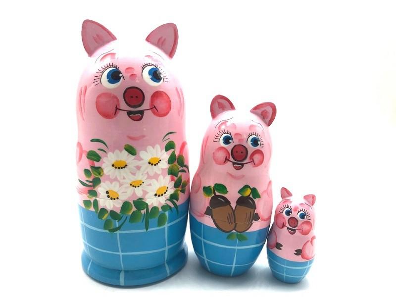 """Matrioska animales """"Cerdito con flores"""", 3 piezas"""