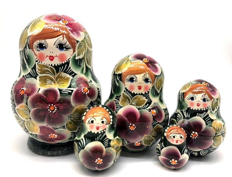 """Matrioska """"Flores  en verde """" 5 piezas"""