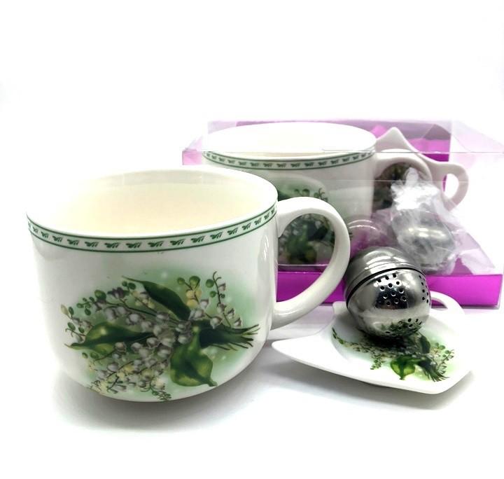 """Set para té """"Flores"""" taza +  plato"""
