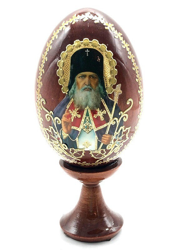 """Huevo en soporte """"Rostros de Santos"""", 10 cm"""