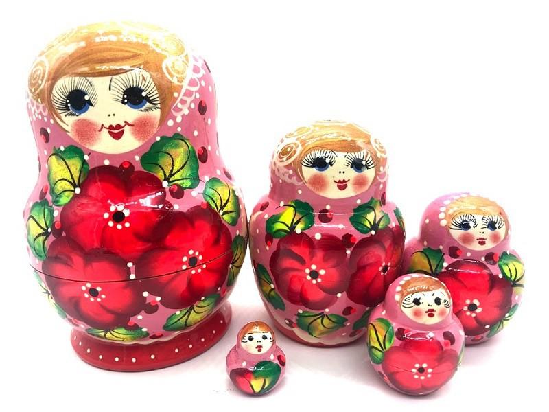 Matrioska rosa con flores de 5 piezas