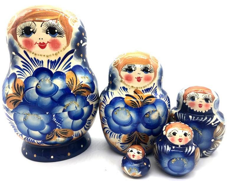 Matrioska gzhel con flores, 5 piezas