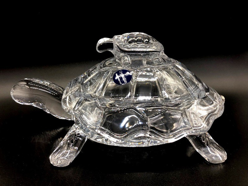 Bonbonera La tortuga, cristal Bohemia
