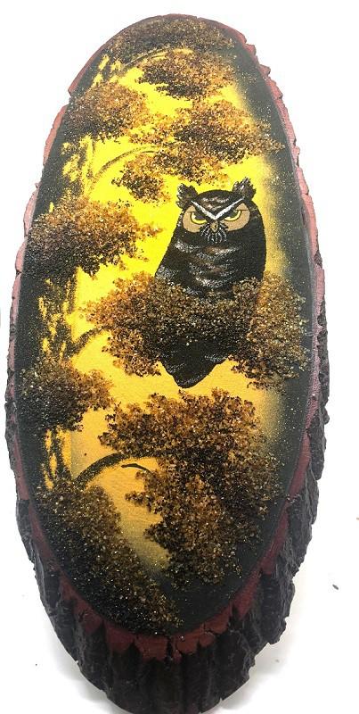 Cuadro en corte de abedul, Buho, 65 cm