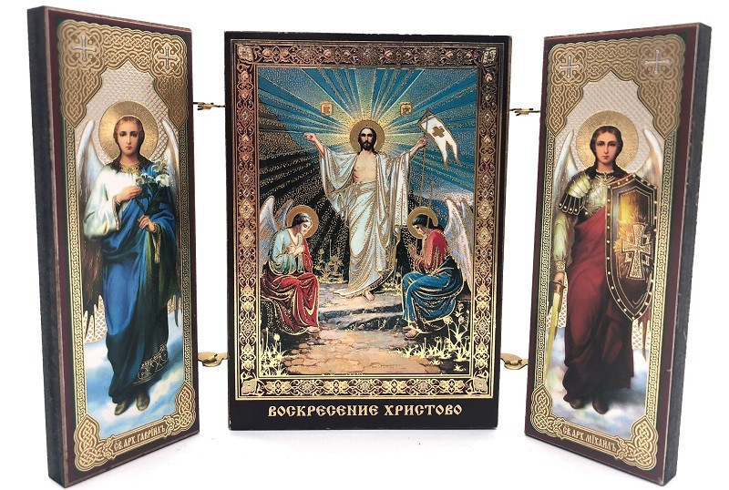 """Icono triptico """"La resurrección de Cristo, 8 * 13 cm"""
