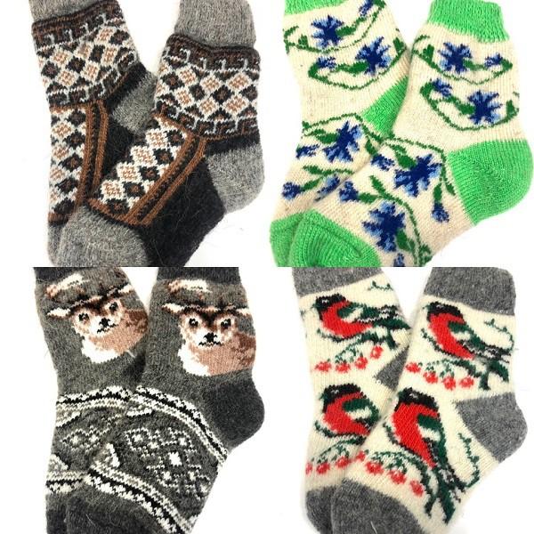 Calcetines para niños, 100% lana, tejidos a mano