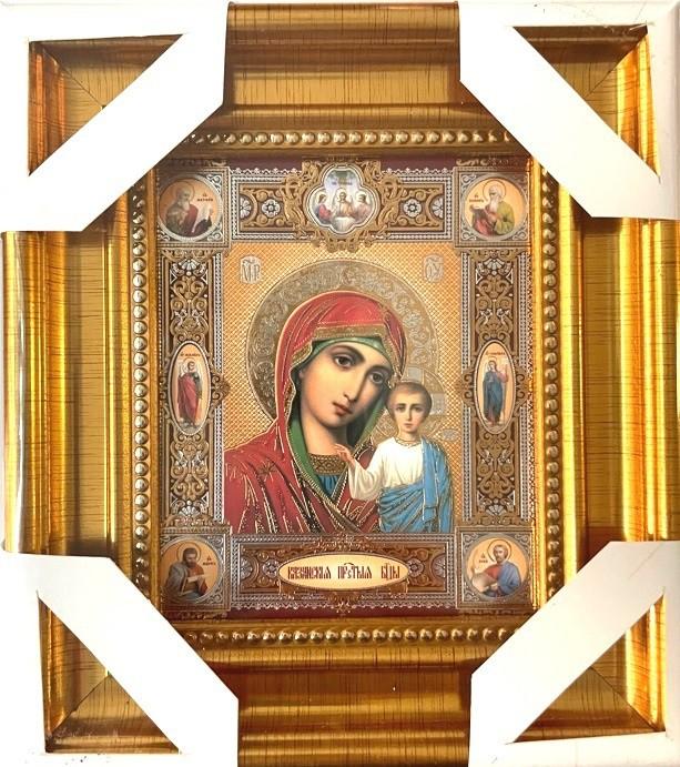 Icono de Kazán 16 * 18 cm, estampado dorado con medallones