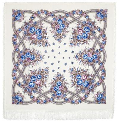 "Chal de lana con flecos de seda  ""Aroma de verano"" 146*146cm"