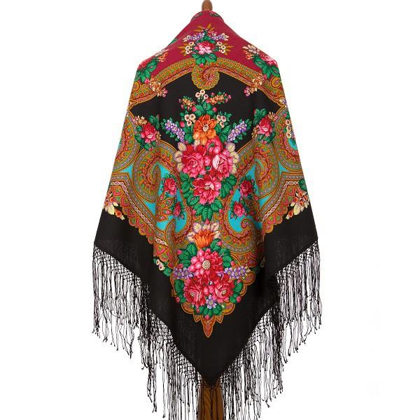 "Pañuelo de lana con flecos de seda ""Labzinskiy"", 148*148 cm"