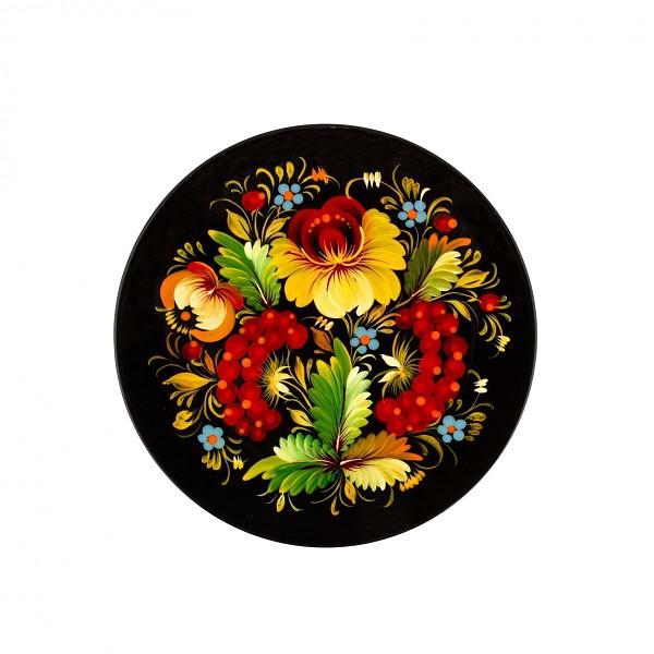 Plato de madera, cuadro de Petrikov 20-22 cm