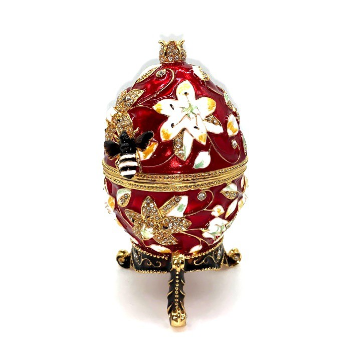 Huevo Faberge, rojo, 11cm, metal