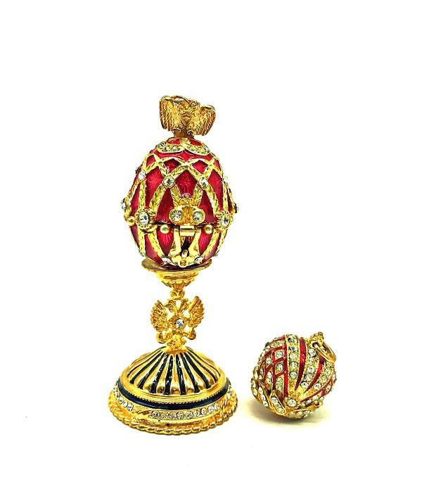 Huevo Faberge rojo con colgante de caron, rojo, 6cm, metal