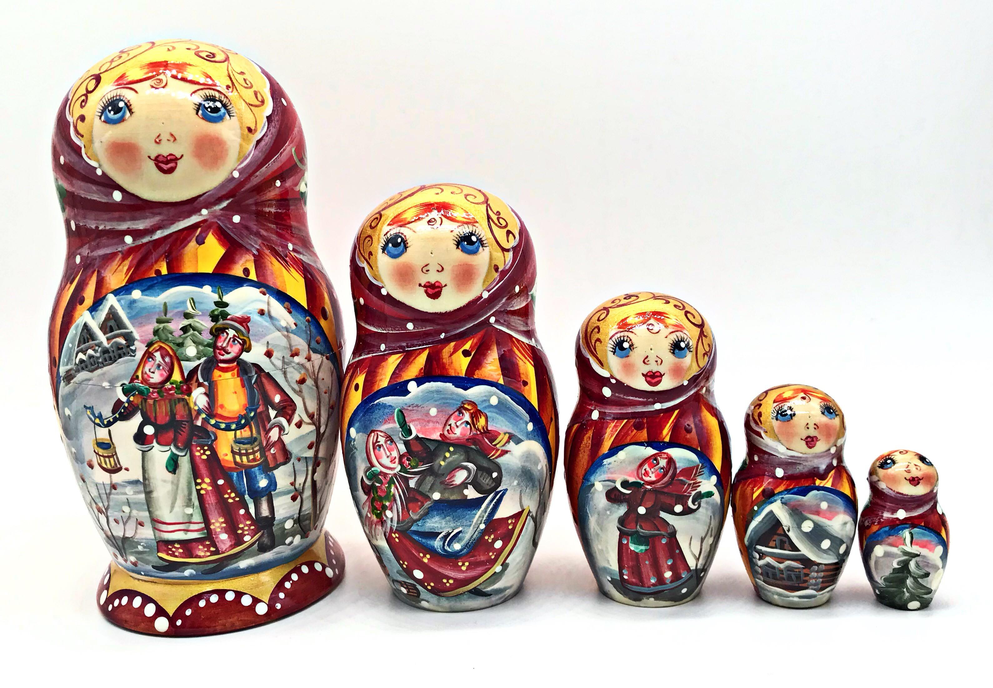 Matrioska Invierno, 5 piezas
