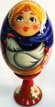 Huevo de madera, pintado a mano, 13 cm