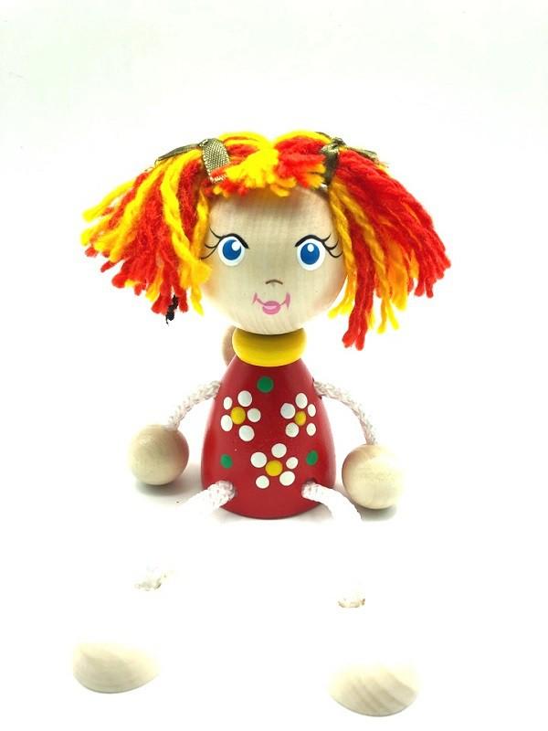 """Juguete de madera """"Masha en vestodo rojo"""", 12 cm"""