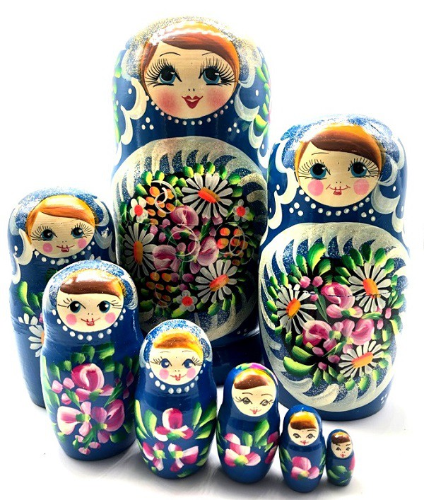"Matrioska ""Margaritas"" azul, 10 piezas, 28 cm"