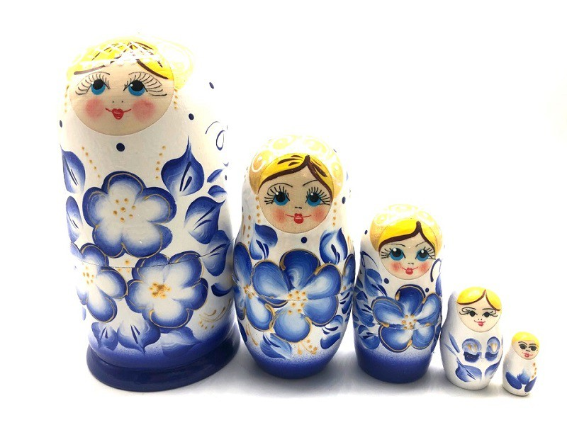 Muñeca rusa Gzhel, 5 piezas