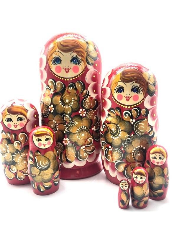 Matrioska 7 piezas, roja con flores doradas