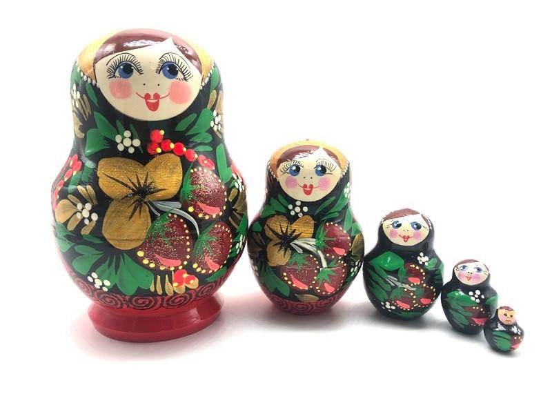 """Matrioska """"Fresas""""  de 5 piezas,13 cm"""