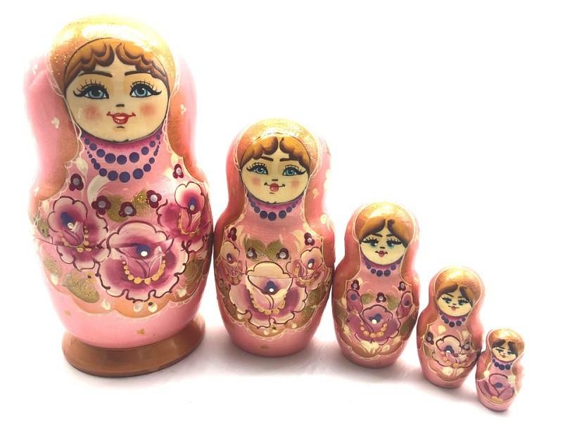 Matrioska Rosas, 5 piezas
