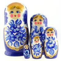 """Matrioska """"Margaritas """" azul de 5 piezas"""