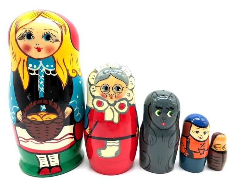 "Matrioska ""Caperusita Roja"", 5 muñecas"
