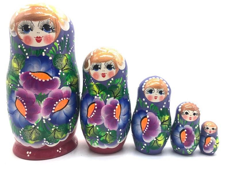 "Matrioska ""Flores "" de 5 piezas"
