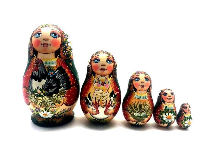 """Matrioshka """"Gallo"""", 5 muñecas"""