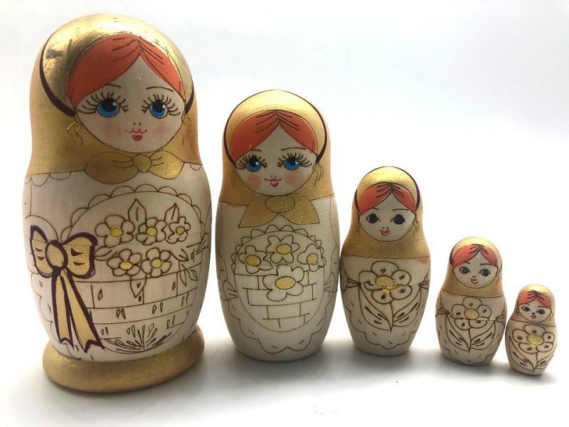 Matrioska con pan de oro, 5 piezas
