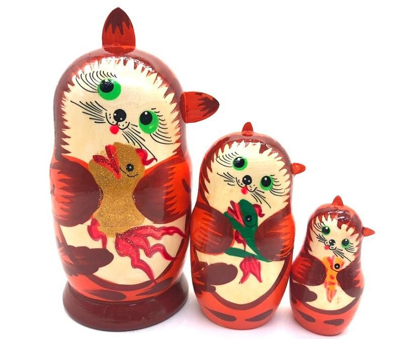 "Matrioska ""Gatos"" 15 cm, 3 piezas"