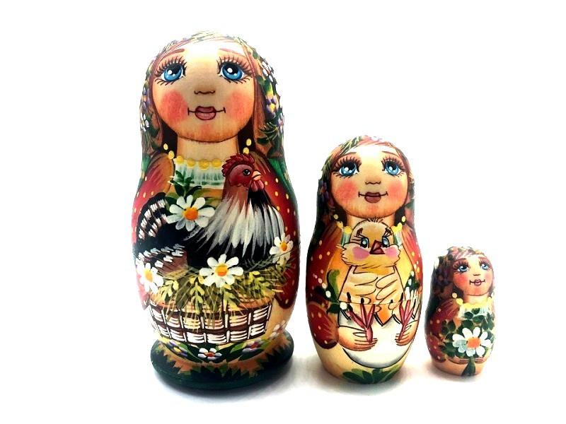"""Matrioshka """"Gallo"""", 3 muñecas"""