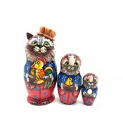 Matrioshka Gato con gallo, 12 cm