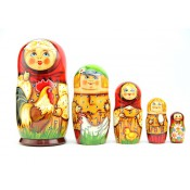 "Matrioska ""Familia con gallo"", 5 piezas"