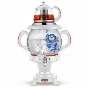 Samovar ruso eléctrico y tetera de cristal