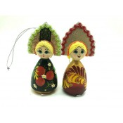 Muñeca de madera, en corona rusa, 12 cm