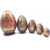 Huevo de matrioska marrón con iconos, 5 piezas