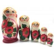 Mñeca rusa de 5 piezas. Amapolas