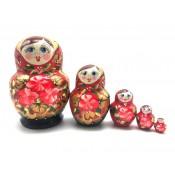 Matrioska Roja-negra, 5 piezas, 13 cm