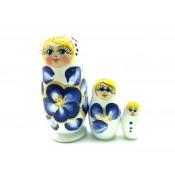 Muñeca rusa Gzhel, 3 piezas