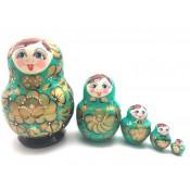 "Matrioska ""Verde"" 5 piezas, 13 cm"