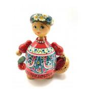 Muñeca de madera,  13 cm.