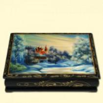 "Cajita lacada ""Invierno, Monasterio"", 10x3,5x14 cm"