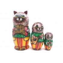 """Matrioshka """"Gato-músico"""", 12 cm"""