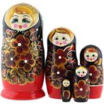 """Matrioska """"Flores rojas en negro """" 5 piezas"""