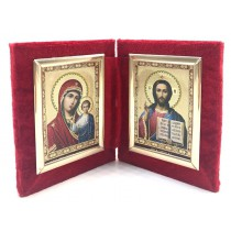 Diptijo(dos iconos) en terciopelo, 10*12 cm
