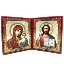 Dos iconos en terciopelo , 22*19 cm