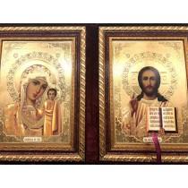 Dos iconos en terciopelo 30*23 cm