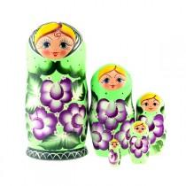 """Matrioska """"Flores en verde"""" de 5 piezas"""