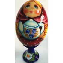 Huevo de madera, pintado a mano,13 cm